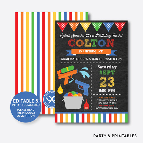 Water Gun Chalkboard Kids Birthday Invitation / Editable / Instant Download (CKB.494)