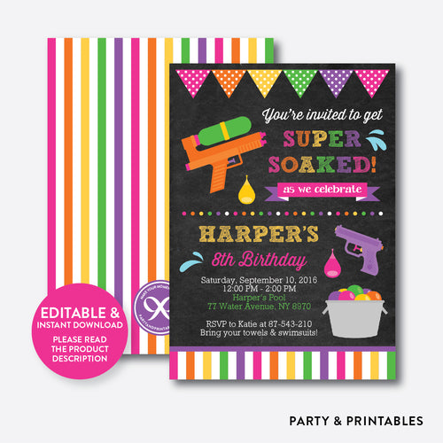 Water Gun Chalkboard Kids Birthday Invitation / Editable / Instant Download (CKB.495B)