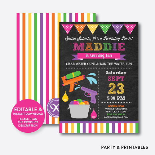 Water Gun Chalkboard Kids Birthday Invitation / Editable / Instant Download (CKB.495)