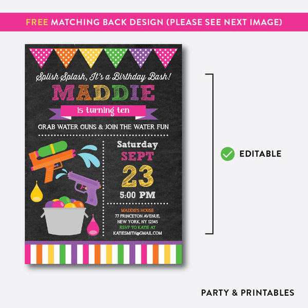 Water Gun Chalkboard Kids Birthday Invitation / Editable / Instant Download (CKB.495), invitation - Party and Printables