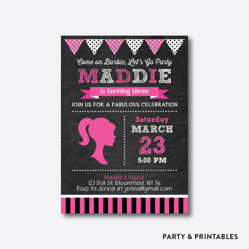 Barbie Chalkboard Kids Birthday Invitation / Personalized (CKB.496)