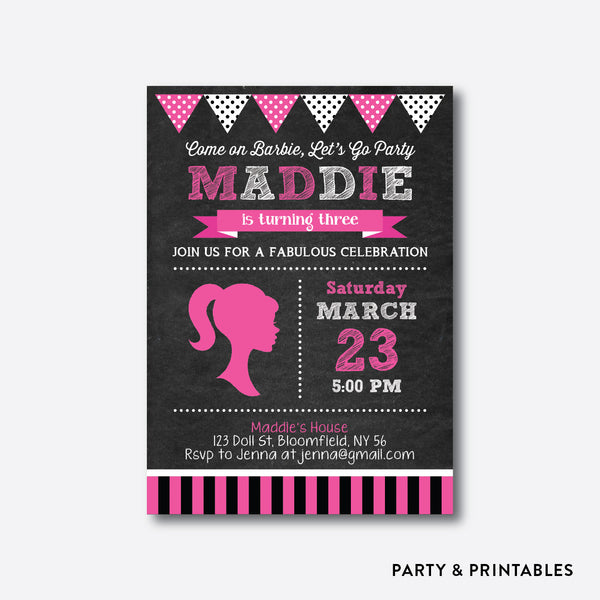 Barbie Chalkboard Kids Birthday Invitation / Personalized (CKB.496), invitation - Party and Printables