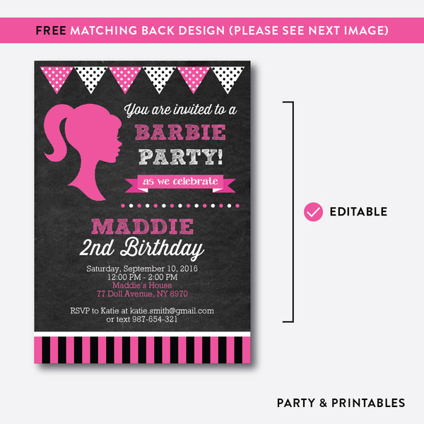 Barbie Chalkboard Kids Birthday Invitation / Editable / Instant Download (CKB.496), invitation - Party and Printables