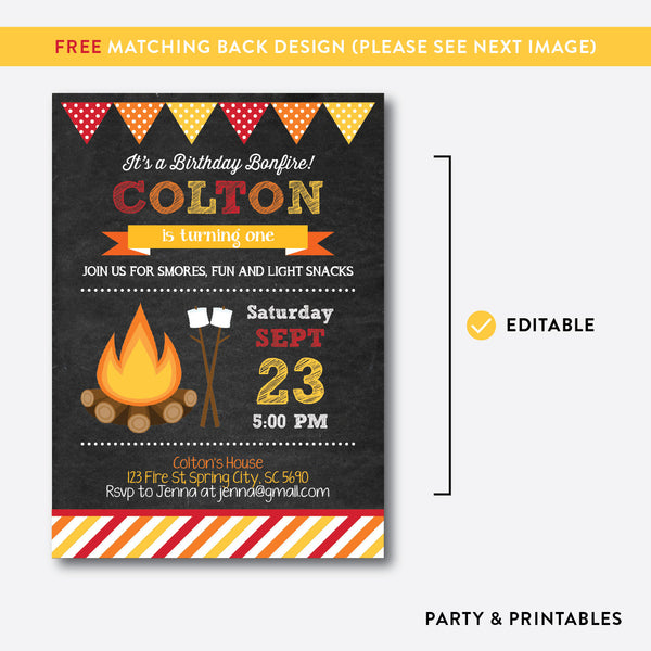 Bonfire Chalkboard Kids Birthday Invitation / Editable / Instant Download (CKB.497B), invitation - Party and Printables