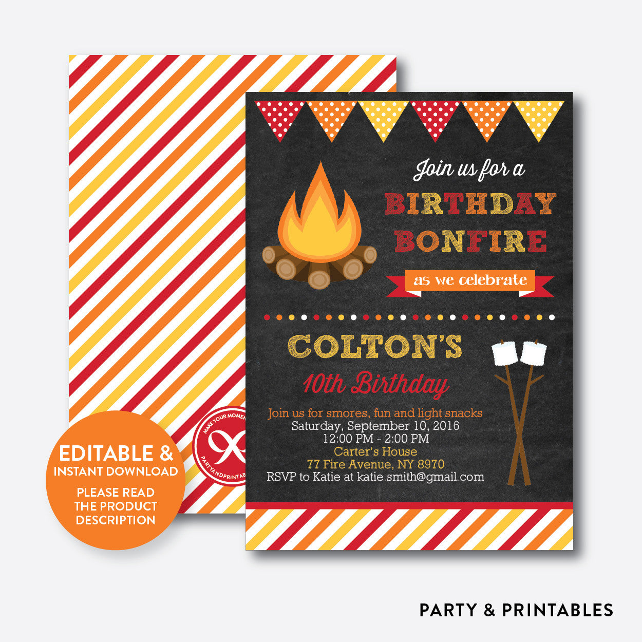Bonfire Chalkboard Kids Birthday Invitation / Editable / Instant Download (CKB.497), invitation - Party and Printables