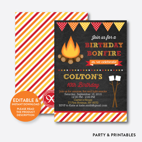 Bonfire Chalkboard Kids Birthday Invitation / Editable / Instant Download (CKB.497)