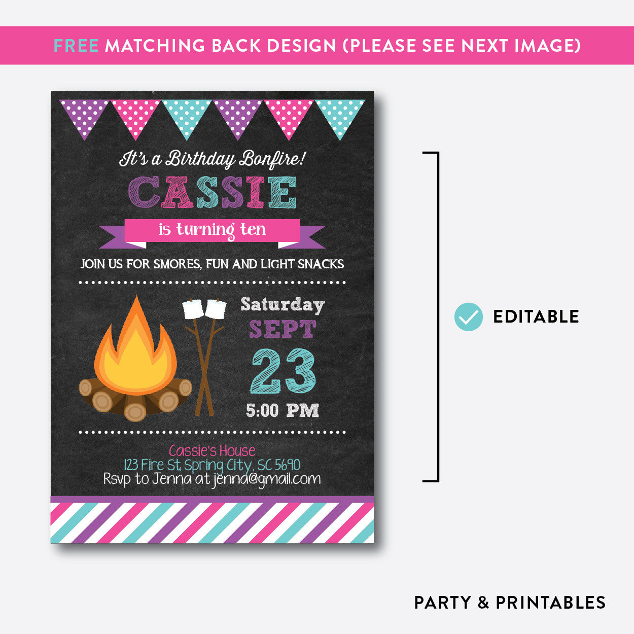 Bonfire Chalkboard Kids Birthday Invitation / Editable / Instant Download (CKB.498B), invitation - Party and Printables