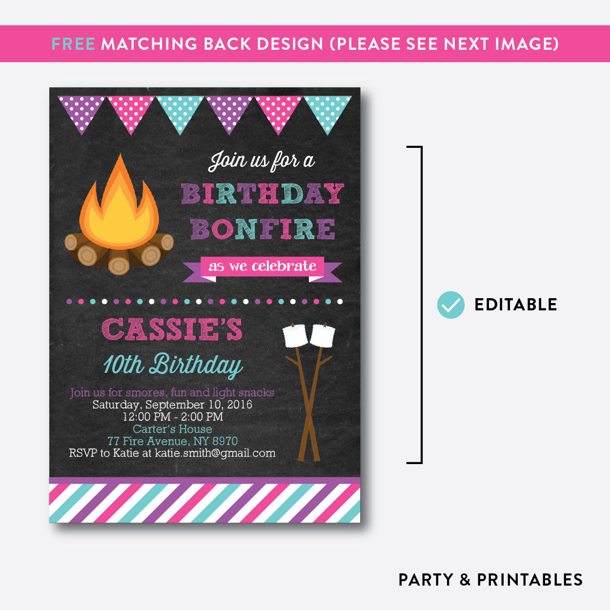 Bonfire Chalkboard Kids Birthday Invitation / Editable / Instant Download (CKB.498), invitation - Party and Printables