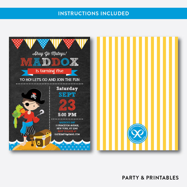 Pirate Chalkboard Kids Birthday Invitation / Editable / Instant Download (CKB.49), invitation - Party and Printables