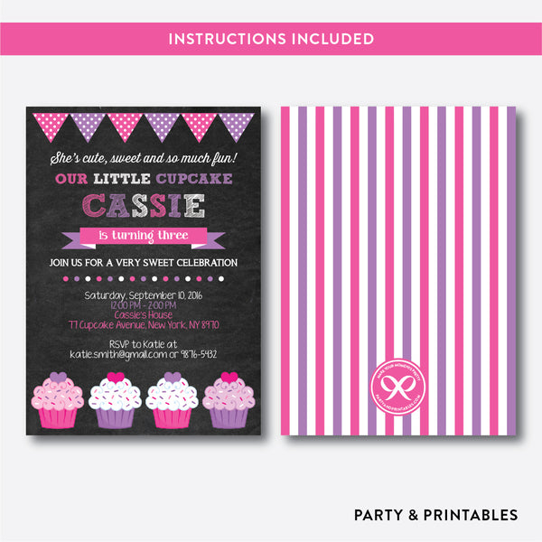 Cupcake Chalkboard Kids Birthday Invitation / Editable / Instant Download (CKB.500), invitation - Party and Printables