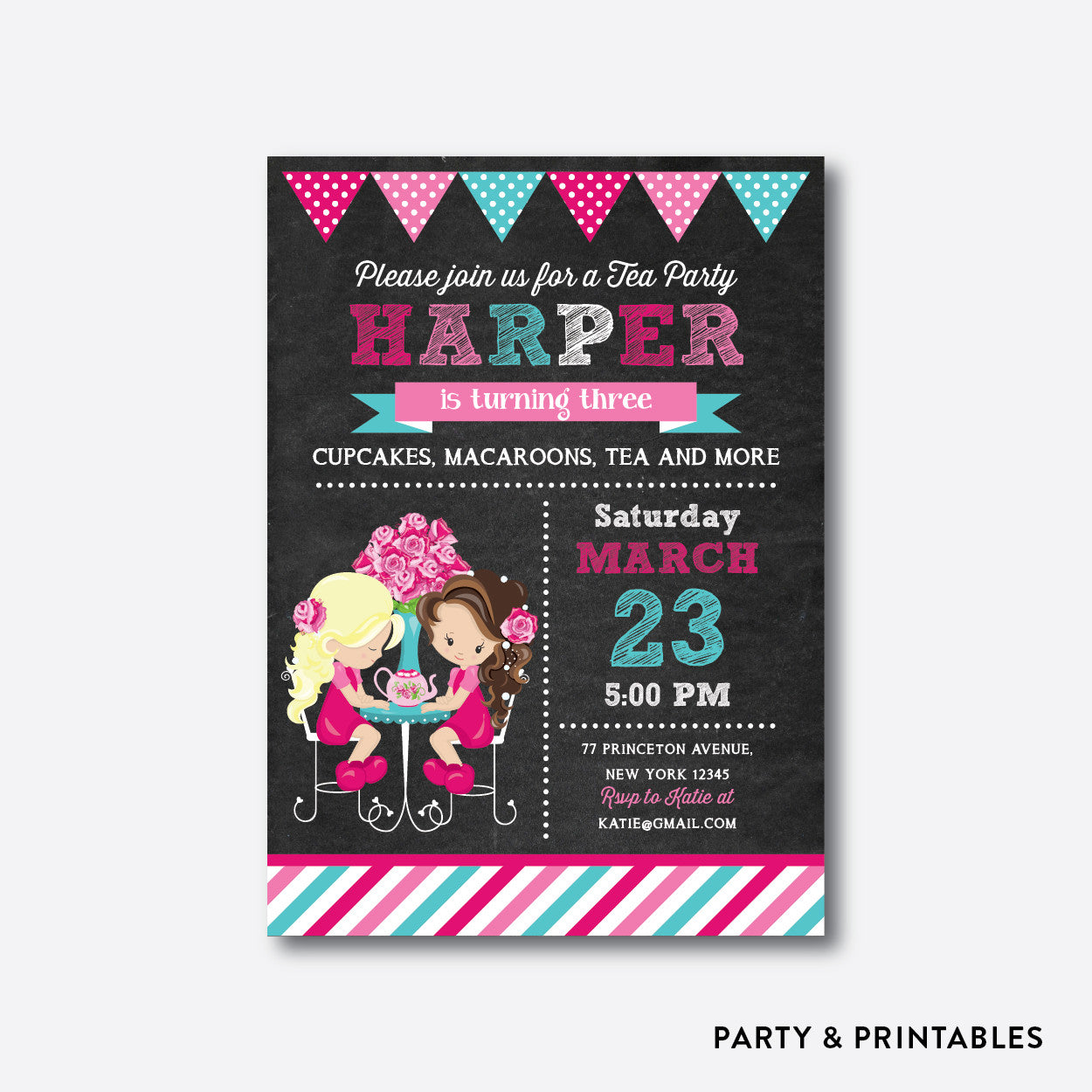 Tea Party Chalkboard Kids Birthday Invitation / Personalized (CKB.505), invitation - Party and Printables