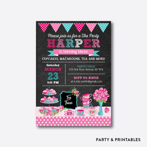 Tea Party Chalkboard Kids Birthday Invitation / Personalized (CKB.506)
