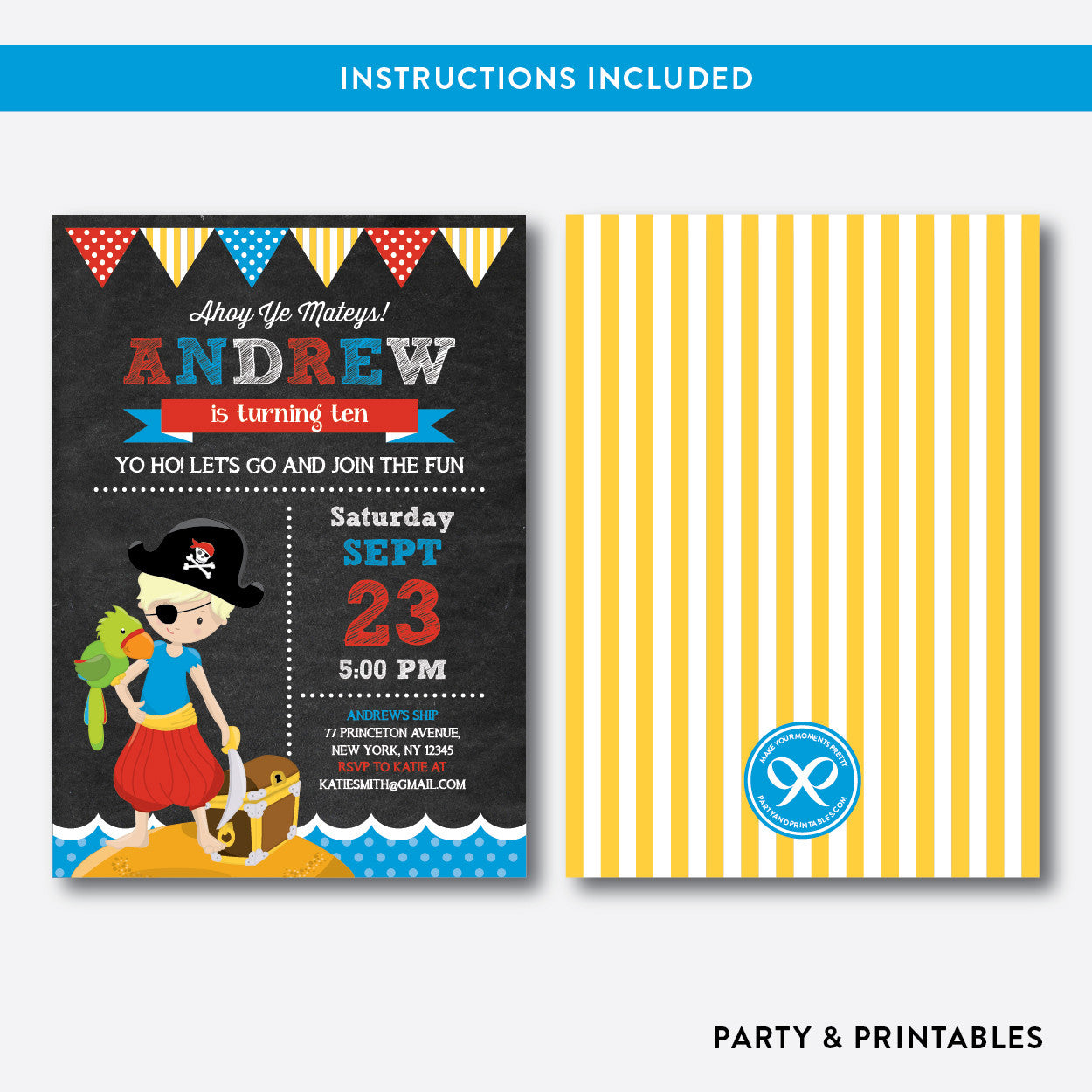 Pirate Chalkboard Kids Birthday Invitation / Editable / Instant Download (CKB.50B), invitation - Party and Printables