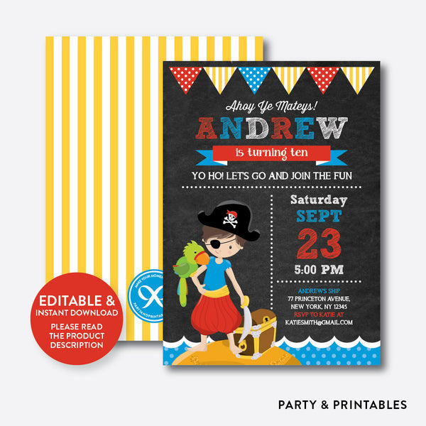 Pirate Chalkboard Kids Birthday Invitation / Editable / Instant Download (CKB.50), invitation - Party and Printables