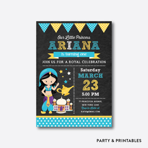 Princess Jasmine Chalkboard Kids Birthday Invitation / Personalized (CKB.514)
