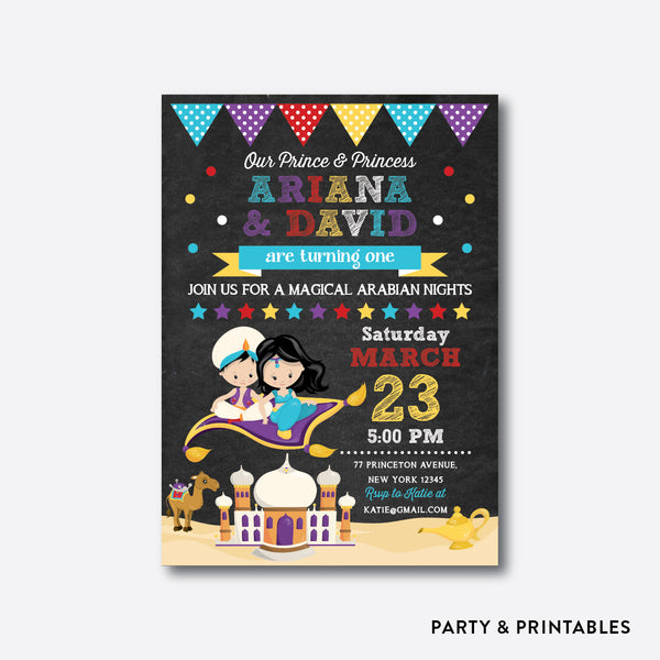 Jasmine & Aladdin Chalkboard Kids Birthday Invitation / Personalized (CKB.516), invitation - Party and Printables