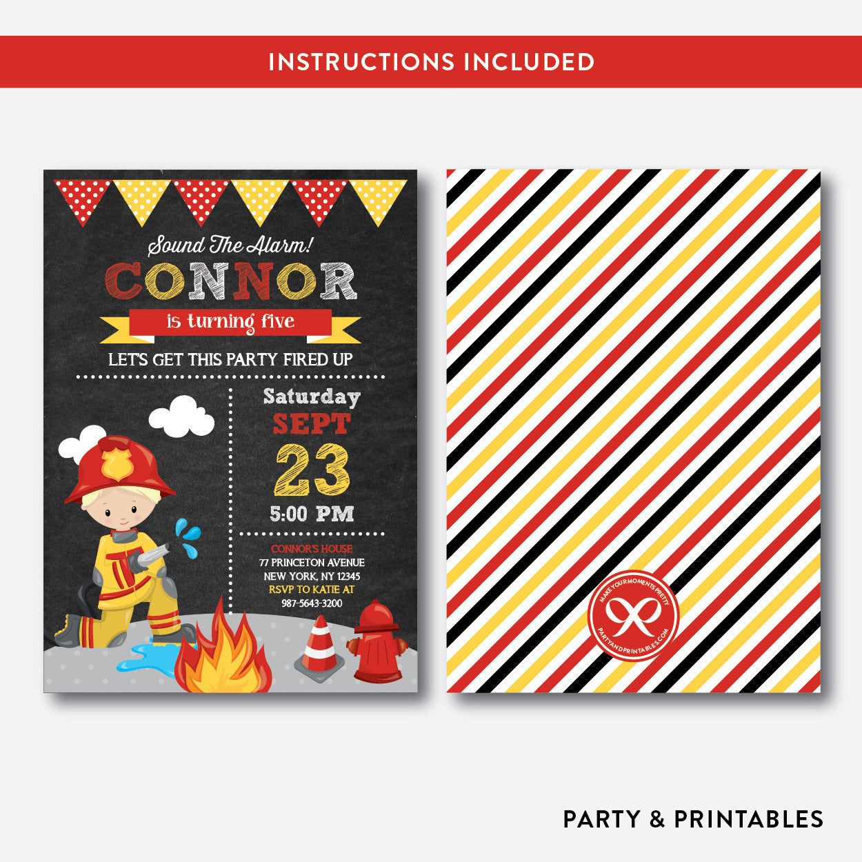 Fire Fighter Chalkboard Kids Birthday Invitation / Editable / Instant Download (CKB.518B), invitation - Party and Printables