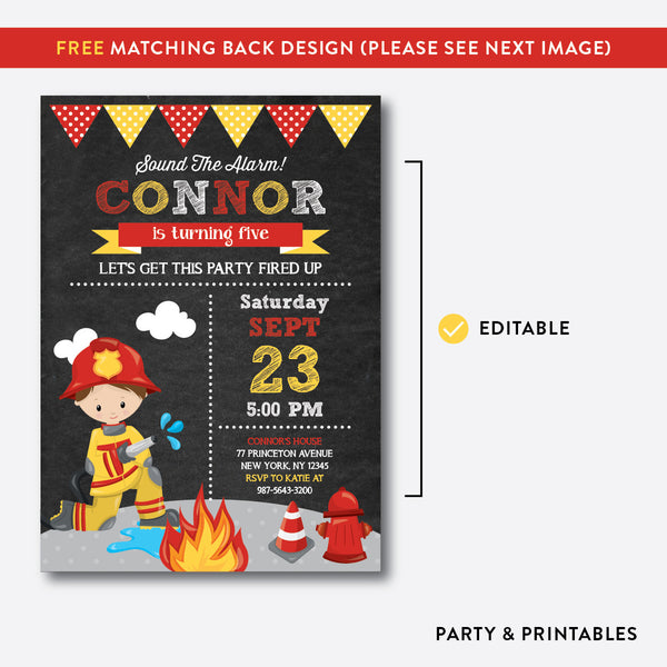 Fire Fighter Chalkboard Kids Birthday Invitation / Editable / Instant Download (CKB.518), invitation - Party and Printables