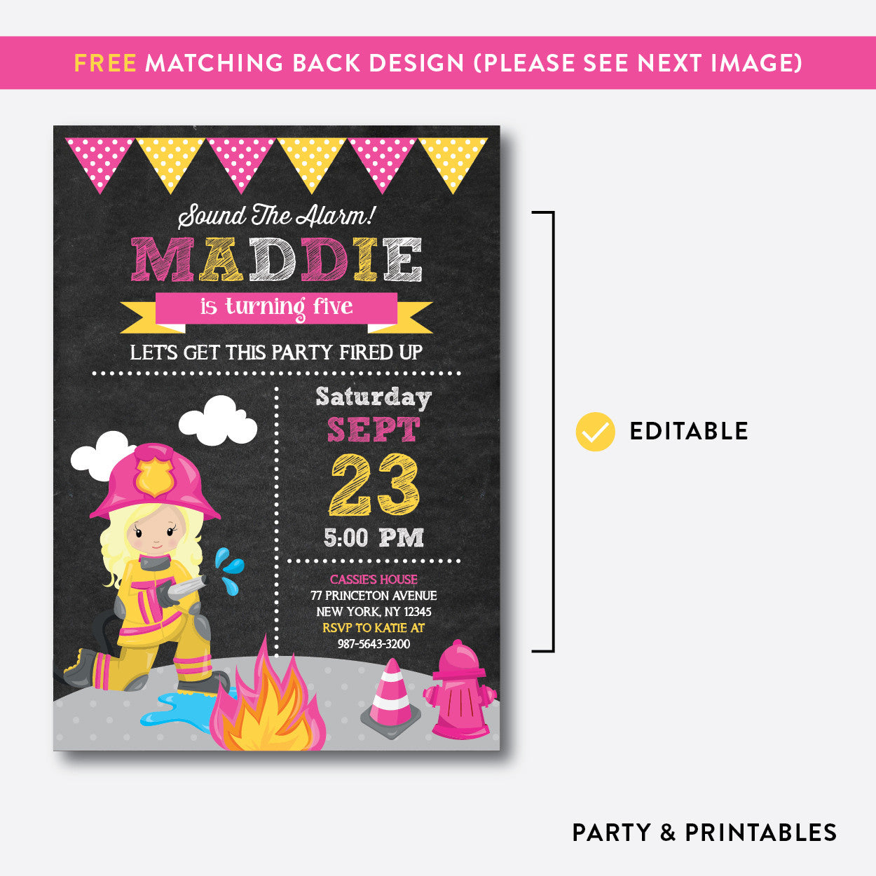 Fire Fighter Chalkboard Kids Birthday Invitation / Editable / Instant Download (CKB.519B), invitation - Party and Printables