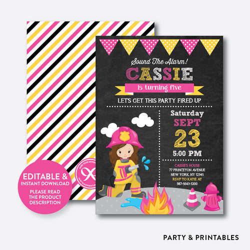 Fire Fighter Girl Chalkboard Kids Birthday Invitation / Editable / Instant Download (CKB.519)