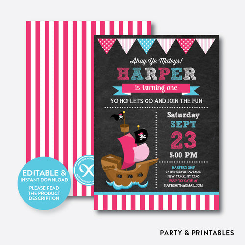 Pirate Ship Chalkboard Kids Birthday Invitation / Editable / Instant Download (CKB.51B)