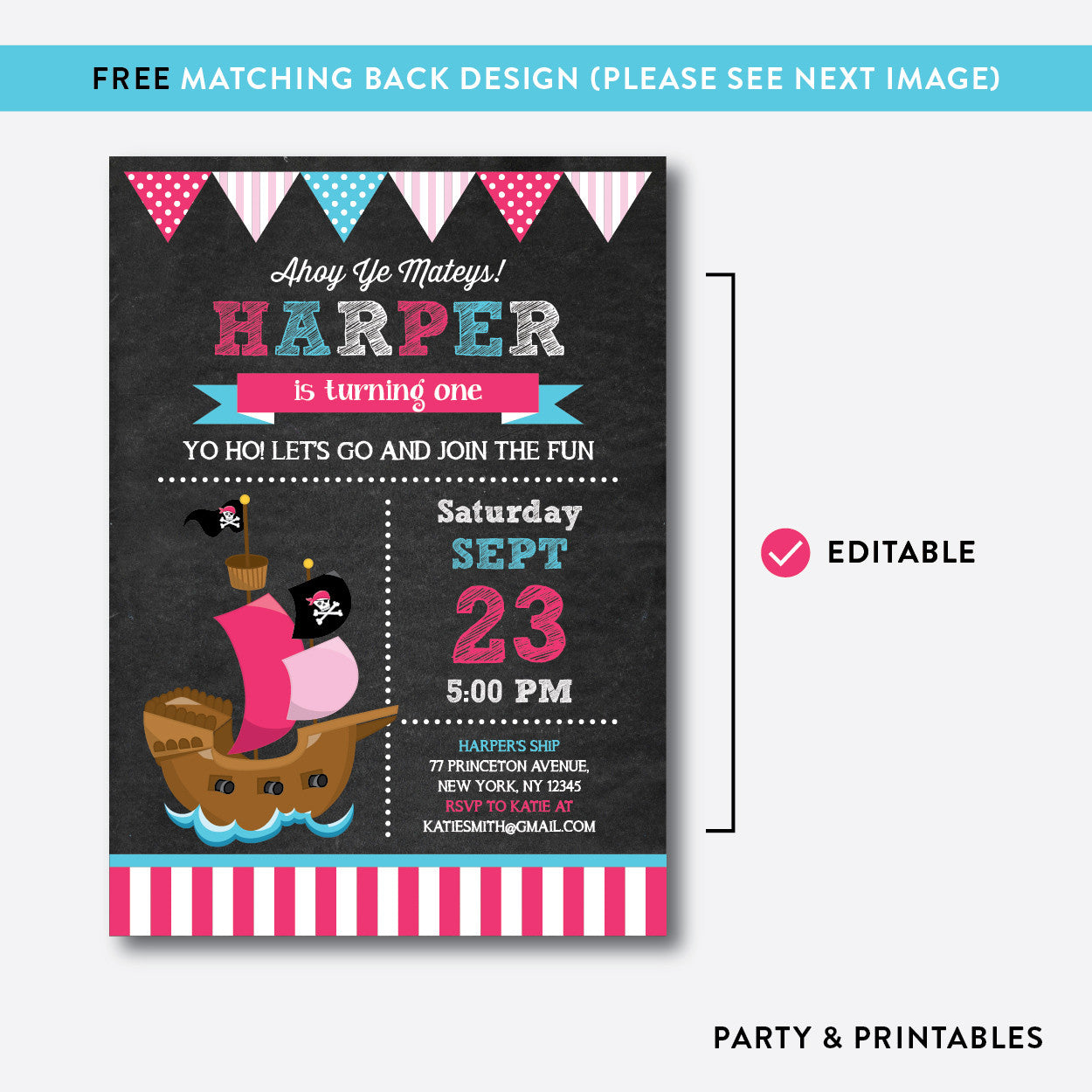 Pirate Ship Chalkboard Kids Birthday Invitation / Editable / Instant Download (CKB.51B), invitation - Party and Printables