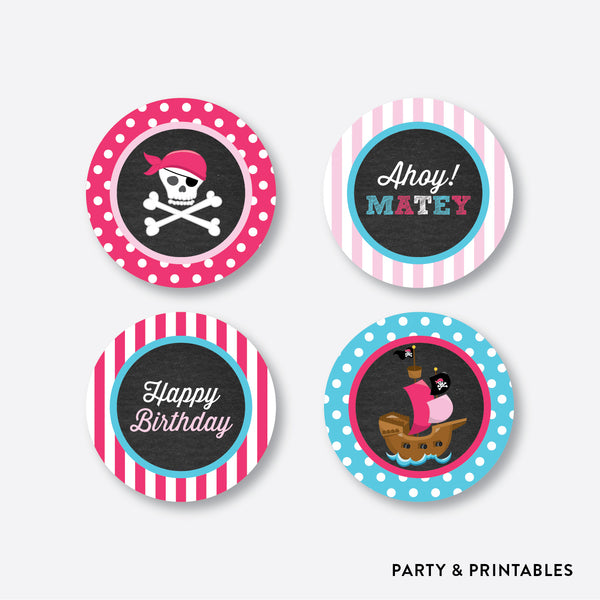 Pirate Ship Chalkboard Cupcake Toppers / Non-Personalized / Instant Download (CKB.51), party printables - Party and Printables