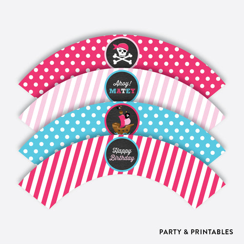Pirate Ship Chalkboard Cupcake Wrappers / Non-Personalized / Instant Download (CKB.51)