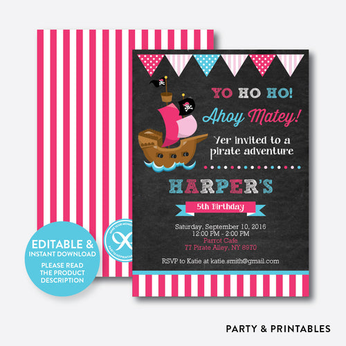 Pirate Ship Chalkboard Kids Birthday Invitation / Editable / Instant Download (CKB.51)