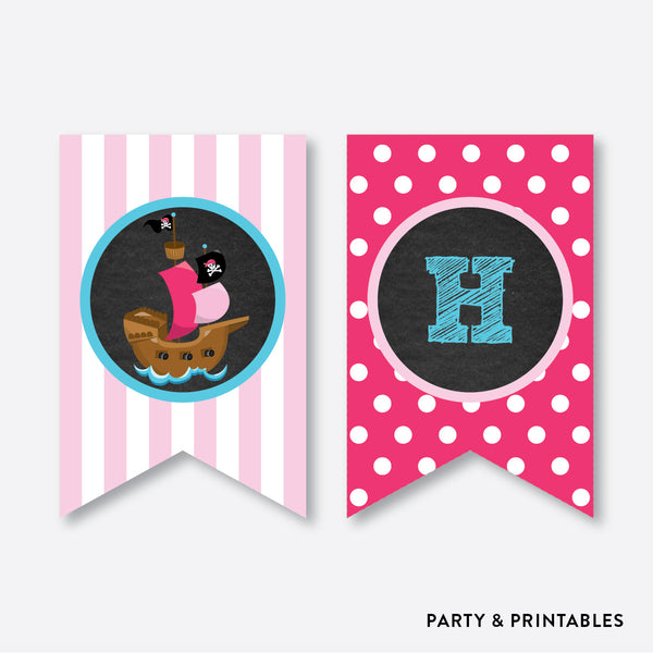 Pirate Ship Chalkboard Party Banner / Happy Birthday Banner / Non-Personalized / Instant Download (CKB.51), party printables - Party and Printables