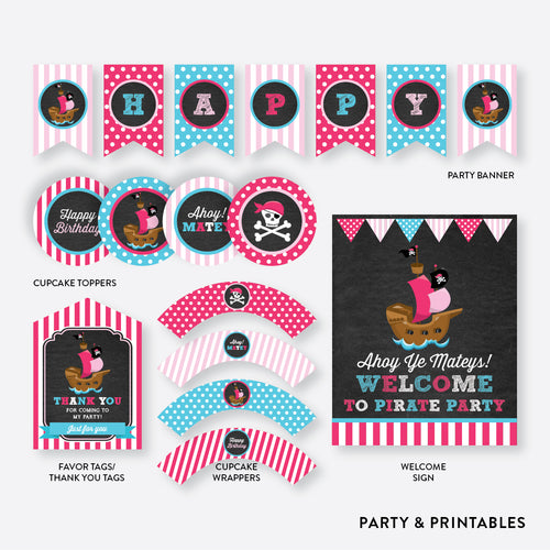 Pirate Ship Chalkboard Standard Kids Birthday Party Package / Non-Personalized / Instant Download (CKB.51)