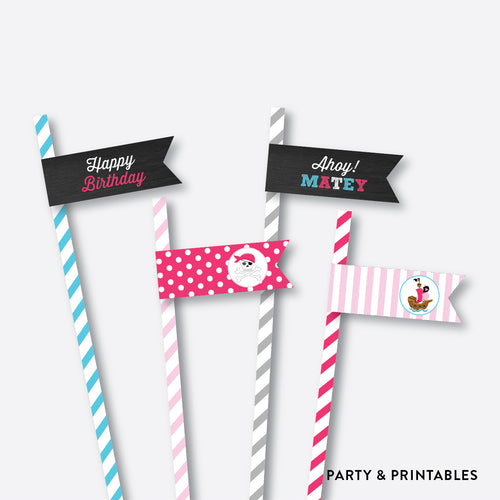 Pirate Ship Chalkboard Straw Flags / Non-Personalized / Instant Download (CKB.51)