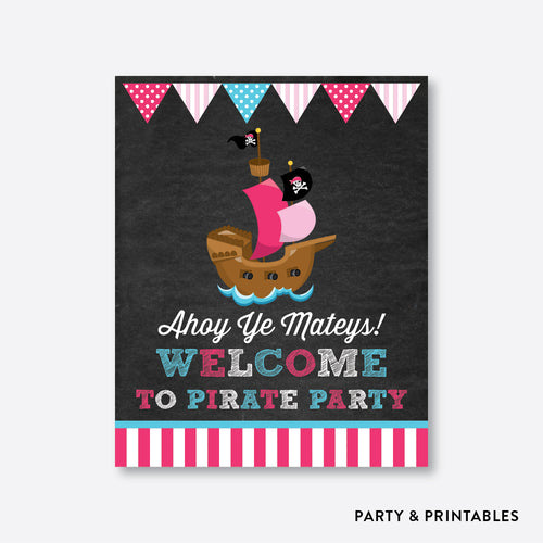 Pirate Ship Chalkboard Welcome Sign / Non-Personalized / Instant Download (CKB.51)