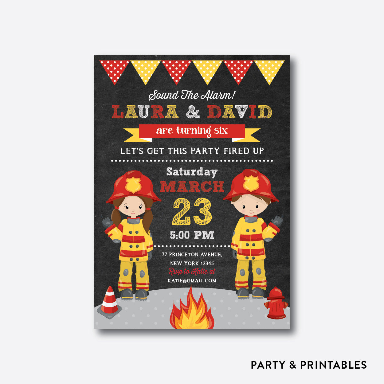 Fire Fighter Chalkboard Kids Birthday Invitation / Personalized (CKB.520), invitation - Party and Printables