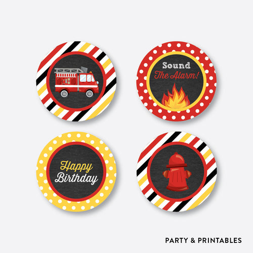 Fire Truck Chalkboard Cupcake Toppers / Non-Personalized / Instant Download (CKB.521)