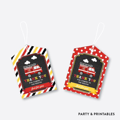 Fire Truck Chalkboard Favor Tags / Non-Personalized / Instant Download (CKB.521)