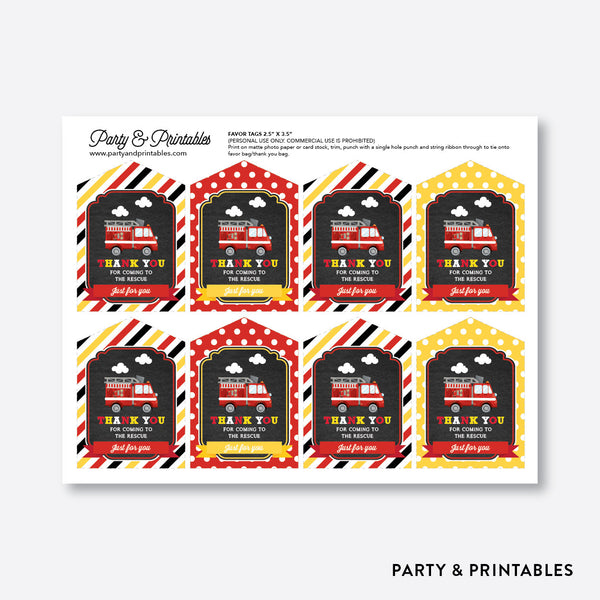 Fire Truck Chalkboard Favor Tags / Non-Personalized / Instant Download (CKB.521), party printables - Party and Printables