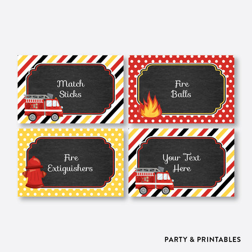 Fire Truck Chalkboard Food Labels / Editable / Instant Download (CKB.521)