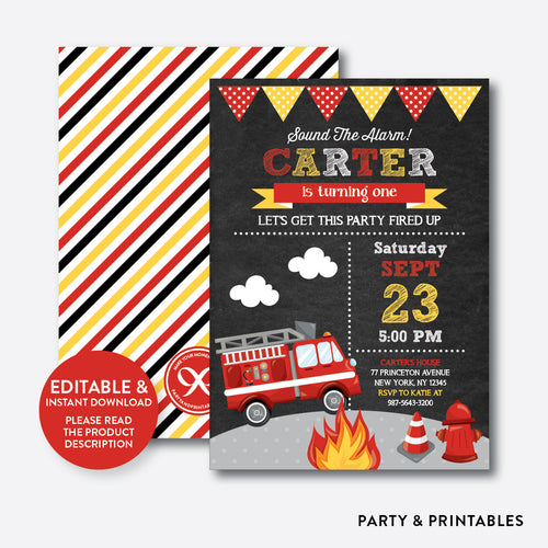 Fire Truck Chalkboard Kids Birthday Invitation / Editable / Instant Download (CKB.521)