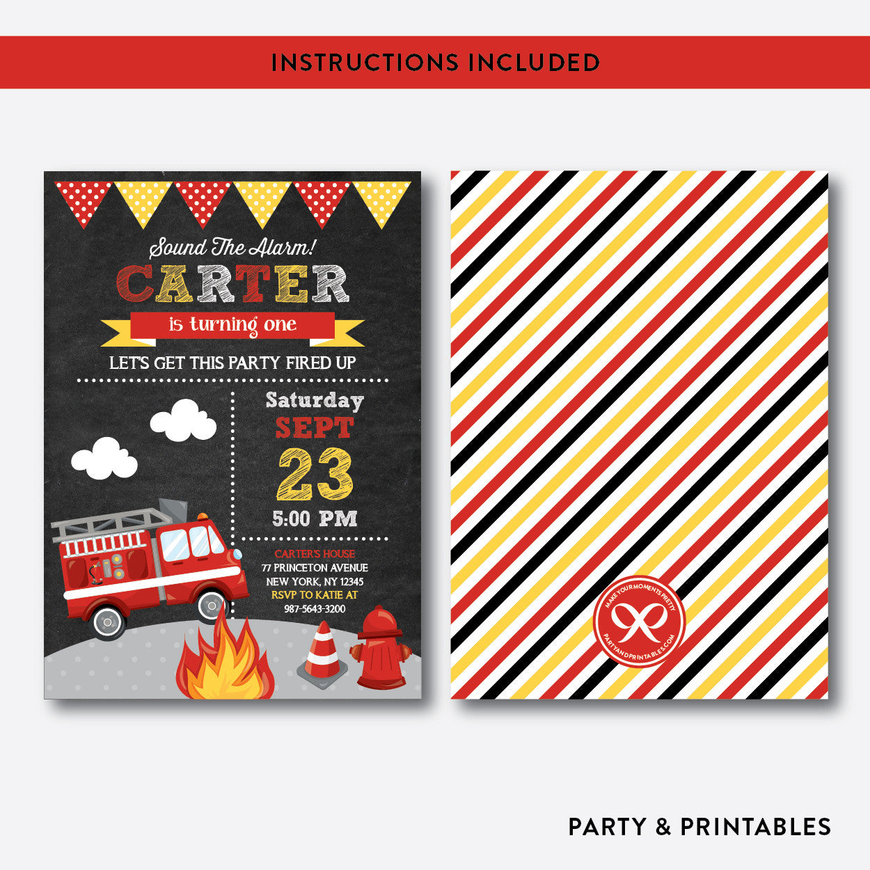 Fire Truck Chalkboard Kids Birthday Invitation / Editable / Instant Download (CKB.521), invitation - Party and Printables