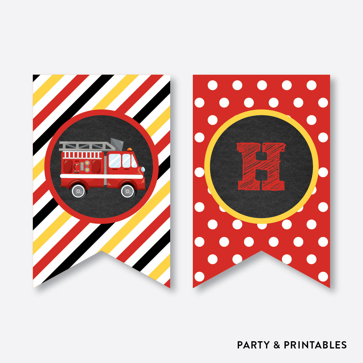 Fire Truck Chalkboard Party Banner Happy Birthday Non Personalized Instant Download CKB521
