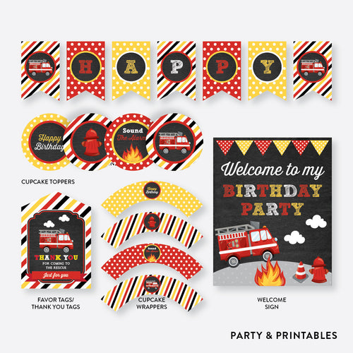 Fire Truck Chalkboard Standard Kids Birthday Party Package / Non-Personalized / Instant Download (CKB.521)