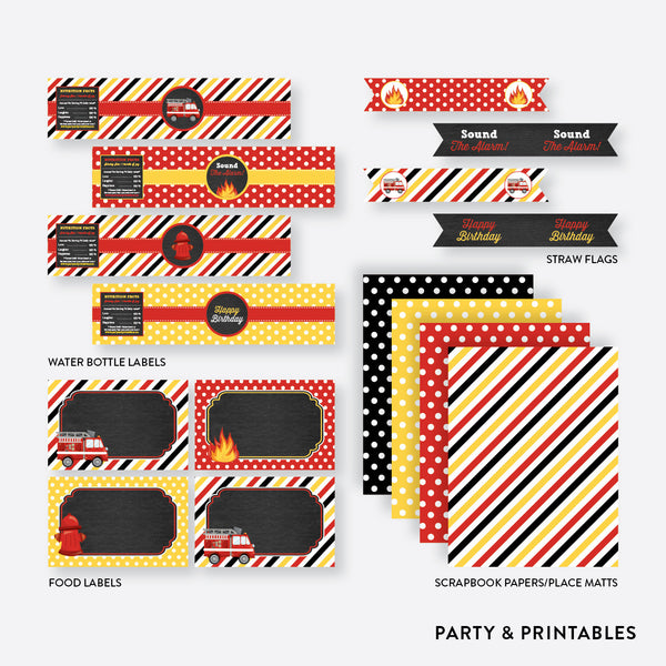 Fire Truck Chalkboard Standard Kids Birthday Party Package / Non-Personalized / Instant Download (CKB.521), party package - Party and Printables