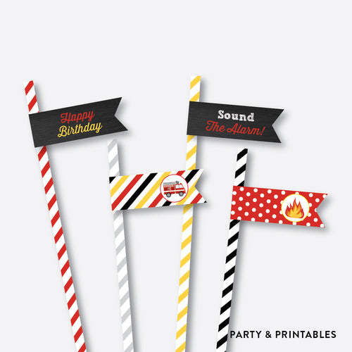 Fire Truck Chalkboard Straw Flags / Non-Personalized / Instant Download (CKB.521)