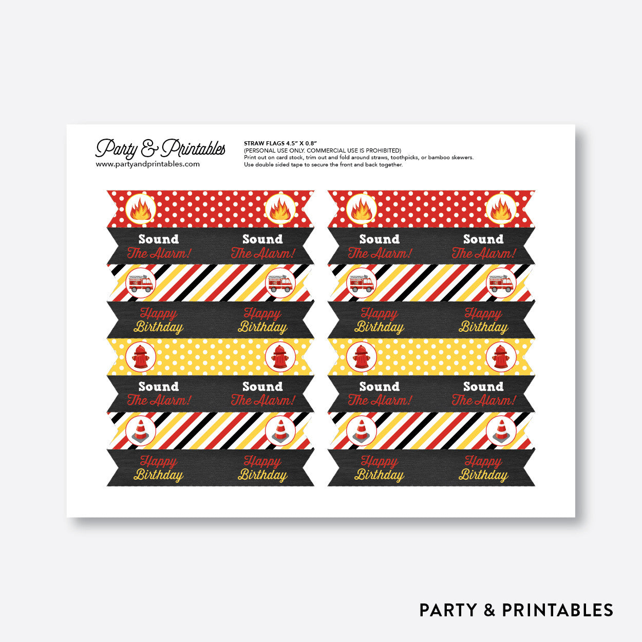 Fire Truck Chalkboard Straw Flags / Non-Personalized / Instant Download (CKB.521), party printables - Party and Printables