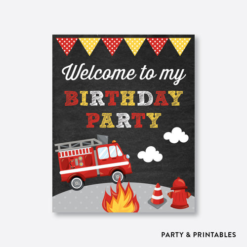 Fire Tuck Chalkboard Welcome Sign / Non-Personalized / Instant Download (CKB.521)