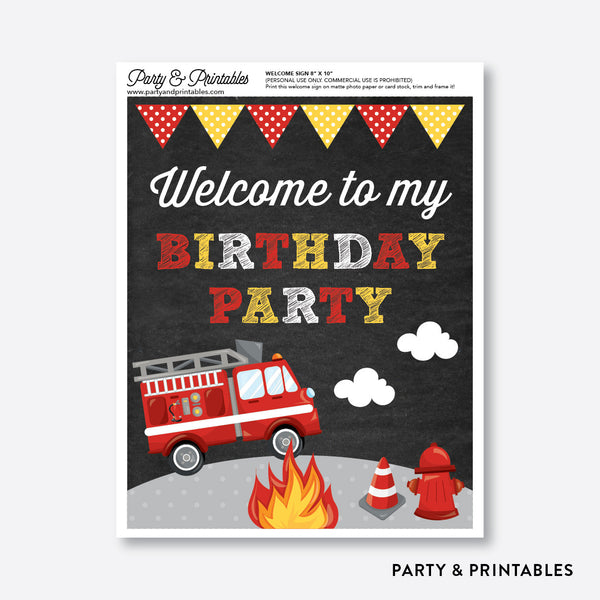 Fire Tuck Chalkboard Welcome Sign / Non-Personalized / Instant Download (CKB.521), party printables - Party and Printables