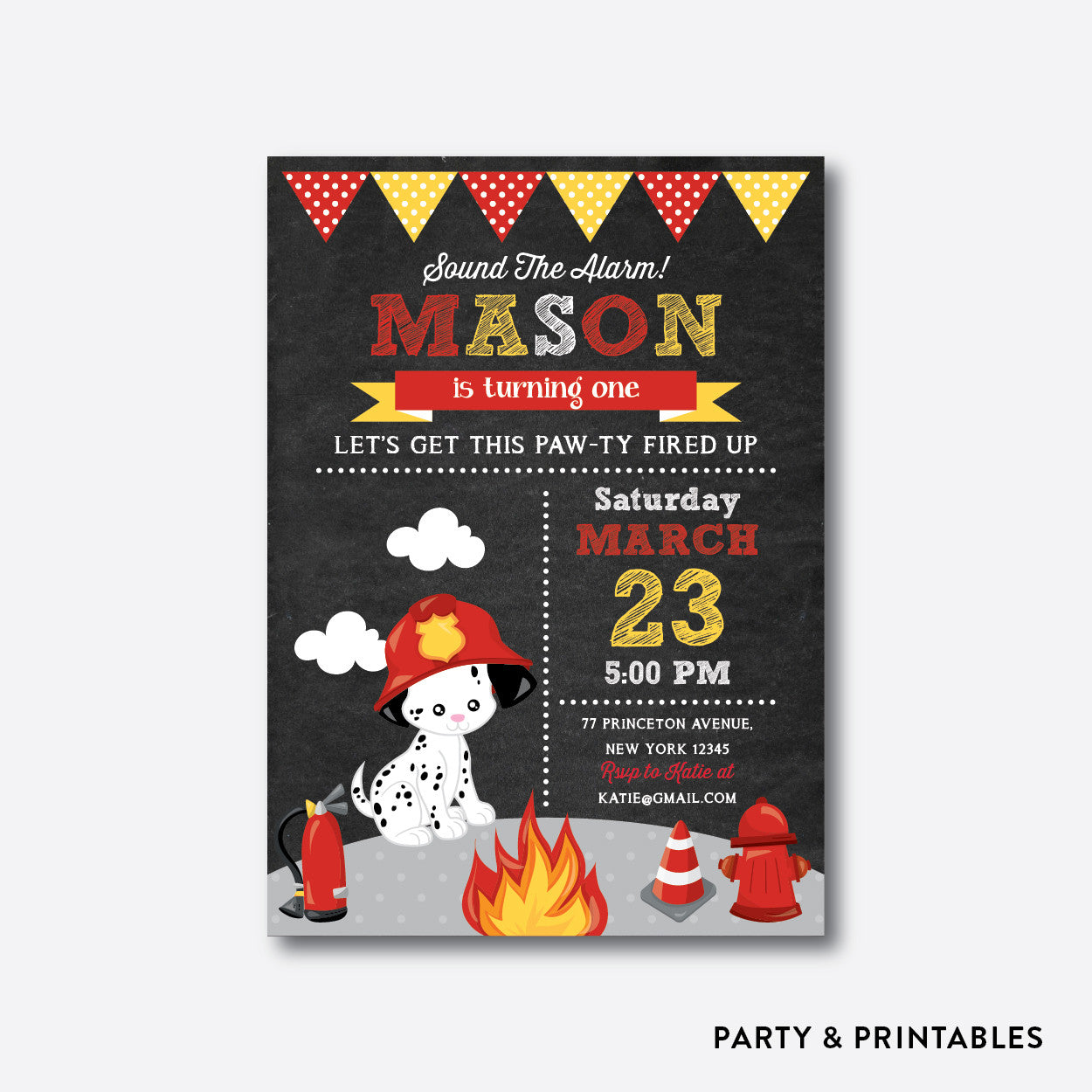 Fire Fighter Dog Chalkboard Kids Birthday Invitation / Personalized (CKB.522), invitation - Party and Printables