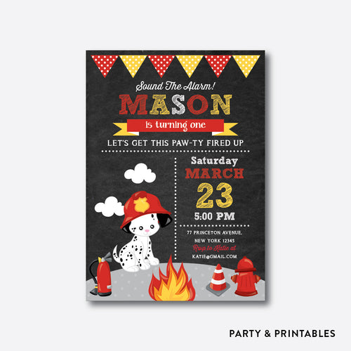 Fire Fighter Dog Chalkboard Kids Birthday Invitation / Personalized (CKB.522)