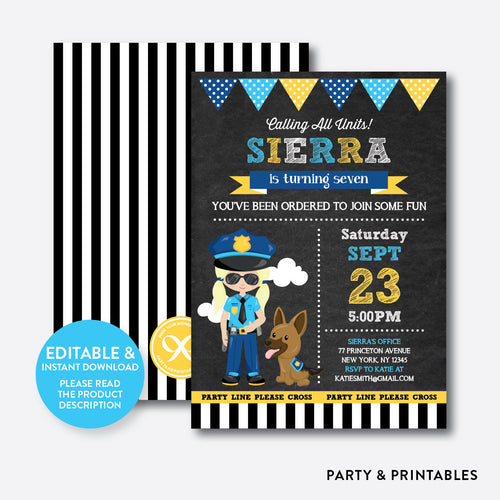 Police Chalkboard Kids Birthday Invitation / Editable / Instant Download (CKB.527B)